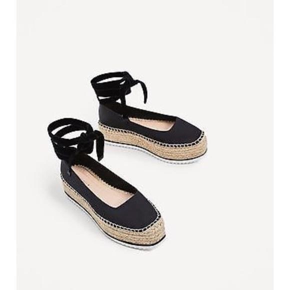 76b312d2cd02 NWT Zara Woman Black Lace Up Platform Espadrilles